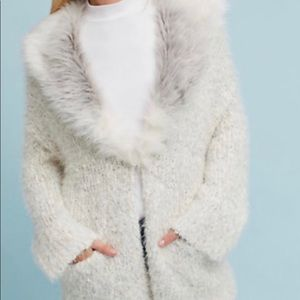 NEW NEVER WORN Anthropologie faux fur cardigan
